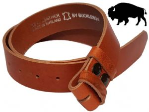 38mm Genuine BUFFALO Hide TAN Snap Fit Leather Belt 1.5 inches wide